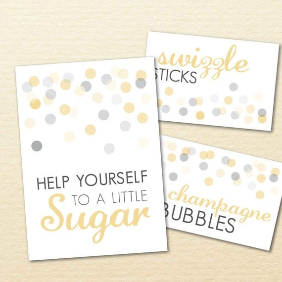 Confetti Printable Candy, Cookie, Dessert Buffet Signs for Wedding, Shower, or Party - DIY, Polka Dots, Gold, Silver