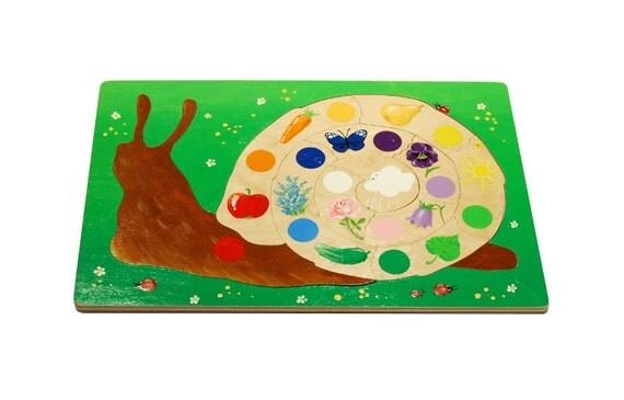 Wooden color puzzle - snail ( age 3-4)