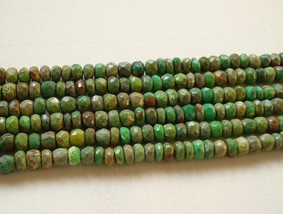 Natural Green colored Turquoise Faceted Rondelles 5 inch strand N3345