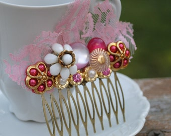 Vintage Lace Pink Bohemian Collage Hair Comb OOAK - Wedding, Bridal, Bridesmaid Statement Piece