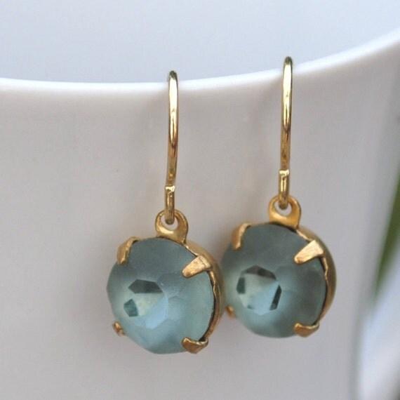 Window Cut Grey Blue Vintage Jewel Dangle Earrings Gold Tone