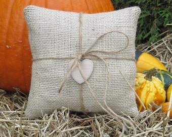 Rustic Burlap Ring Bearer Pillow Personalized For Your Wedding Day