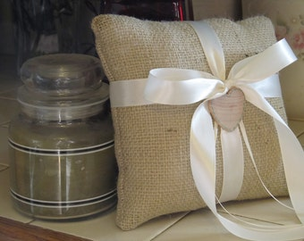 Rustic Burlap Personalized Ring Bearer Pillow For Your Wedding