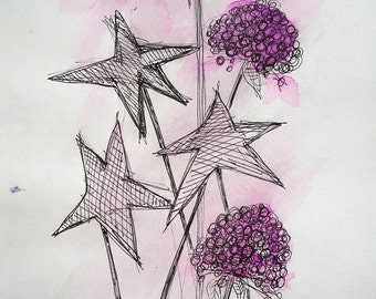 Stars and flowers, original