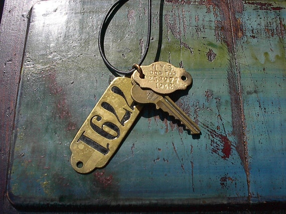 Vintage Brass Tags and Key Junk Gypsy Necklace with Leather 3