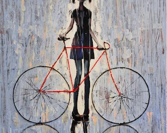Amelia.     2009   Original Oil painting print on canvas,  Rolled CanvasPrint, Girl and her bike