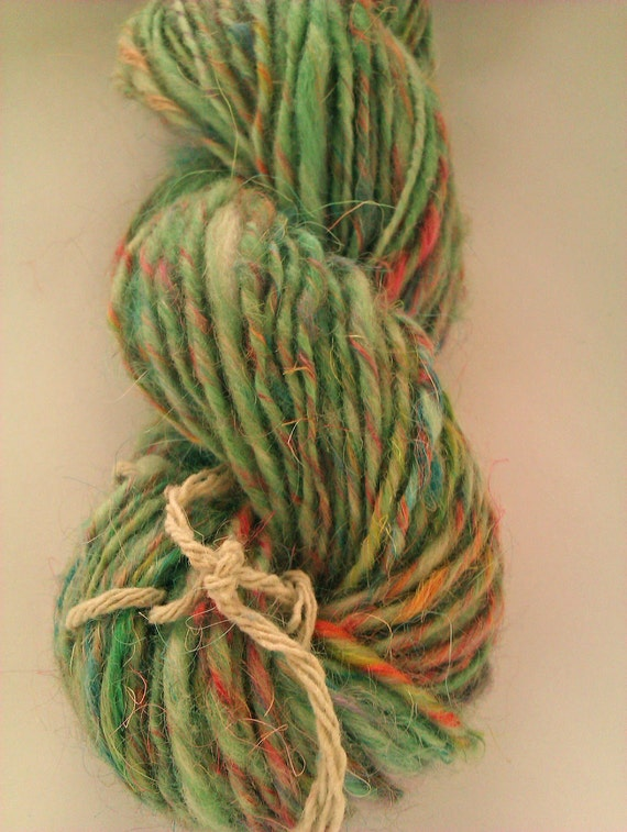 Garden Gnome - Handspun and hand painted art yarn. Mohair and merino. Greens and florals.