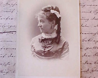 Sweet 1884 Sepia Photograph of Young Woman with Beautiful Dress and Earrings