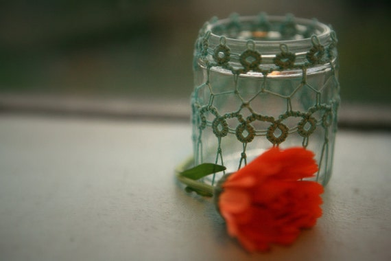 Tatting Covered Vintage Bottle/Vase