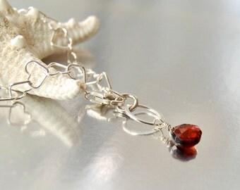 Heart Link Bracelet .  Garnet Teardrop . Sterling Silver