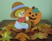 scarecrow holding pumpkin, fall, halloween,  handpainted,