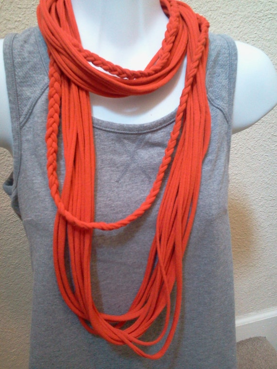 Recycled T Shirt Necklace Tangerine