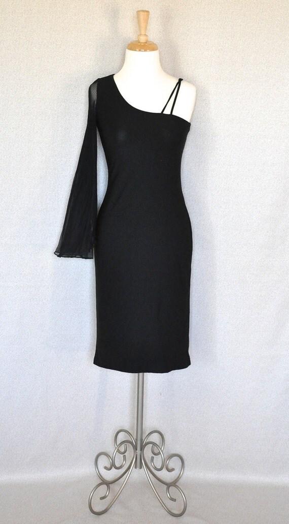Vintage Black One Shoulder Dress - 1980's