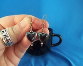 Sterling silver pierced earrings with Hematite hearts (P43)