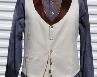 M Mens Steampunk Vest Leather Collar