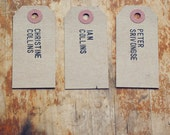 Rustic Place Cards Hand-Stamped with Full Names on Kraft Shipping Tags (Custom)