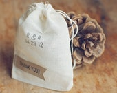 50 Small Thank You Pennant Muslin Bags for Wedding Favors, Gift Packaging and Businesses