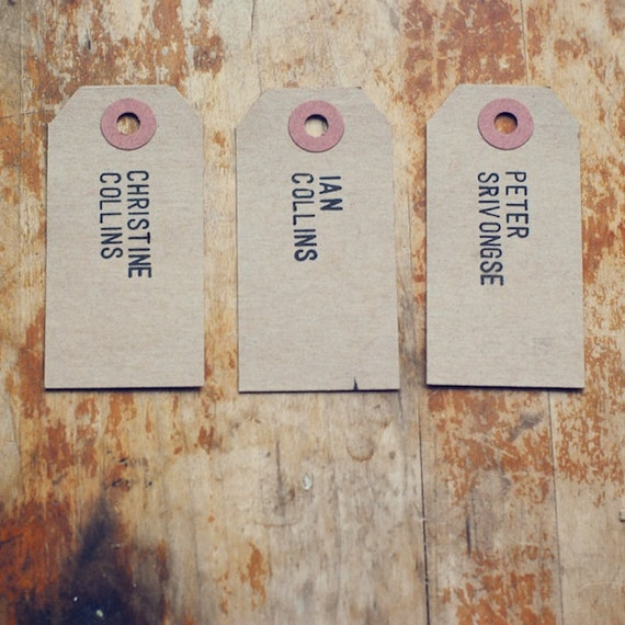 Reserved for Jamie - 9 Rustic Place Cards Hand-Stamped with Full Names on Kraft Shipping Tags (Custom)