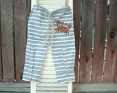 RESERVED FOR MAREN - loungers - cotton grey and white striped pants with a hand painted crab
