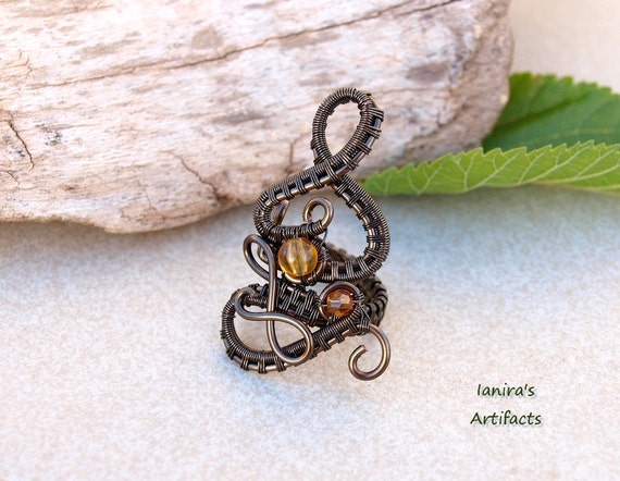 Steampunk wire wrapped statement ring