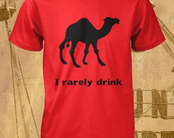 Party T Shirt I Rarely Drink Mens Size S M L XL White Red Green Yellow Cotton Tee Shirt Sleeve