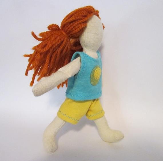 """SALE 7"""" eco-friendly soft cloth doll with orange wool hair"""