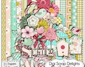 Springtime Digital Scrapbook Kit w Birds, Birdhouses, Butterflies, & Lady Bugs in Pink, Green, Yellow, Instand Download