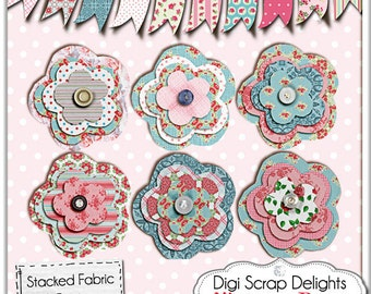 2 Dollar Special: Vintage Rose Embellishments /Stacked Fabric Flowers and Bunting Digital Scrapbook Embellishments, Instant Download