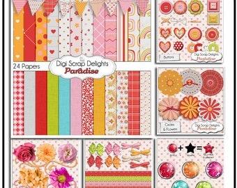SALE Paradise Digital Scrapbooking Kit Bundle pink, red, orange, papers, elements, glitter, frames, Instant Download