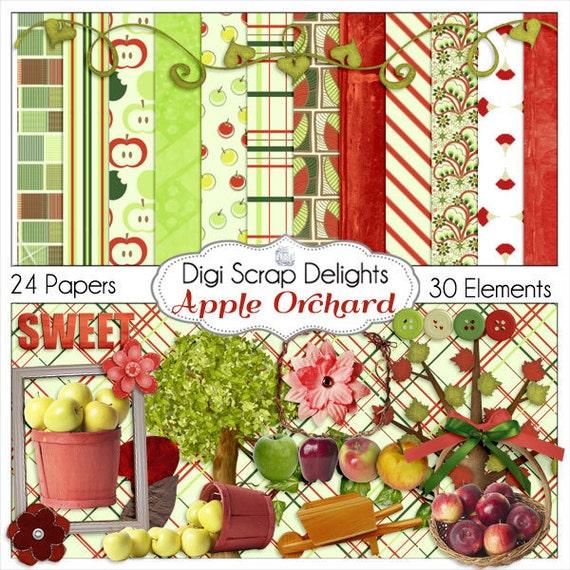 Digital Scrapbook Kit, Apple Orchard , Apple Clip Art, Apple Trees, Red, Green Digital Scrapbooking, Card Making, Crafts, Instant Download