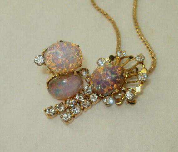 Vintage Van Dell Necklace Pin Brooch Earrings  Three Piece Set Dragon's Breath Rhinestone  Foil Opal