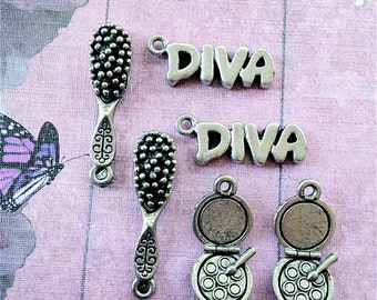 Diva Combo Charms -6 pieces-(Antique Pewter Silver Finish)--style 722--Free combined shipping