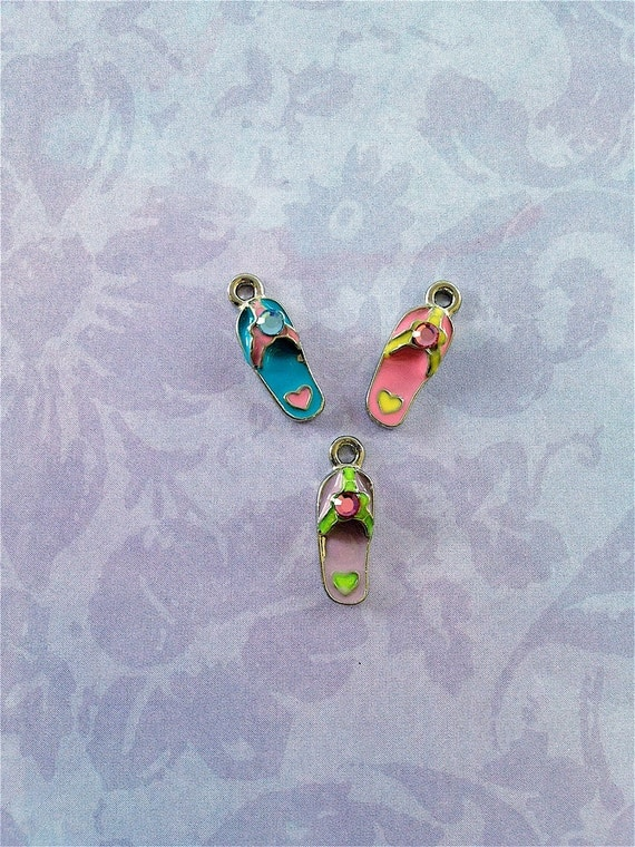 Enameled/Painted/Colored Flip Flop Charms --3 pieces-(Nickel Plated)--style 940-