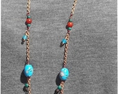 Long Copper Chain Necklace with Blue and White Porcelian beads