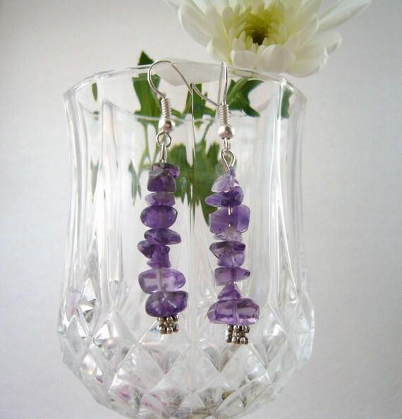 Purple Amethyst Earrings - Long Dangling  Earrings -  Handmade Fashion Jewellery