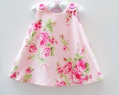Barefoot Roses - Baby Pink - Girls - Jumper Dress - Aline Dress - Toddler Clothing - Special Occassions - Summer Dress Pattern - 3m to 4T