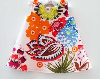 Summer Totem in Grapefruit - KK Children Designs -  Baby Girls Clothing - Infant Clothing - Infant Dress - Baby Shower Gift - 3M to 4T