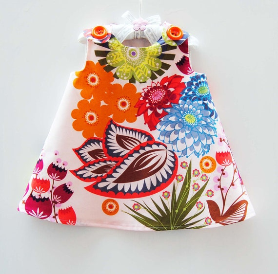 Summer Totem in Grapefruit - KK Children Designs -  Baby Girls Clothing - Infant Clothing - Infant Dress - Baby Shower Gift - 3M to 4T