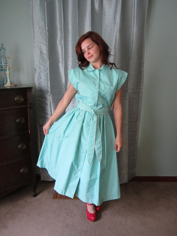 Vintage 1970's aqua shirt dress new with tags