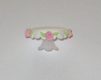 Dollhouse Miniature Shabby Rose Cake Plate Stand Tray Platter 1/12th Scale - Made to Order