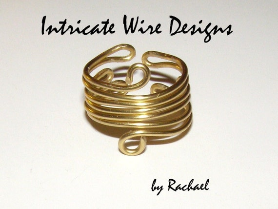 Jewelry, Wire Wirapped Ring, Gold, Adjustable, Gift. Wire Wrapped Rings by IntricateWireDesigns on Etsy.