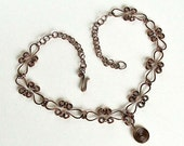 """Copper Necklace Hoops & Celtic Spirals Antiqued Copper Chain 22"""" Necklace with Spiral Pendant"""