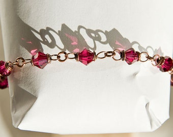 Copper Bracelet Fuschia Crystal Chain ft. Celtic Spirals