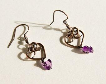 Copper Heart Earrings Antiqued Copper Hearts & Purple Amethyst Chips Custom Copper Findings