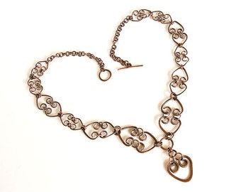 "Copper Hearts Necklace Antiqued Copper Hearts Chain Necklace 22"" Pendant"