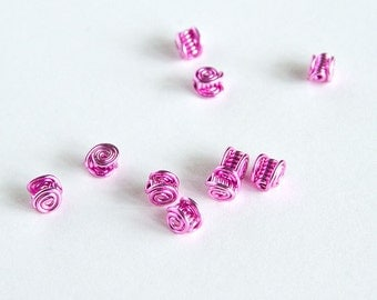 """Pink Celtic Beads - Pink Wire Celtic Spiral Beads 1/4"""" Pack of 10"""