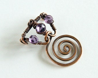 Copper Wire Wrapped Pendant Celtic Spirals Purple Amethyst Spiral Pendant Antiqued Copper Pendant Only
