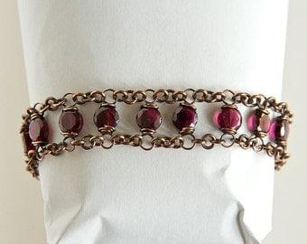 "Copper Bracelet Garnet Dual Chain Antiqued Copper Red Garnet Coin Beads 7.5"" Bracelet"