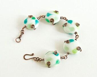 Copper Bracelet Green White Lampwork Beads Large Beads Chunky Bracelet Antiqued Copper Celtic Spirals