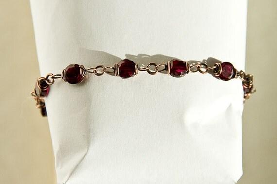 """Copper Bracelet Garnet Coin Beads Antiqued Copper Celtic Spirals 7 3/4"""" Red Garnet Bracelet"""